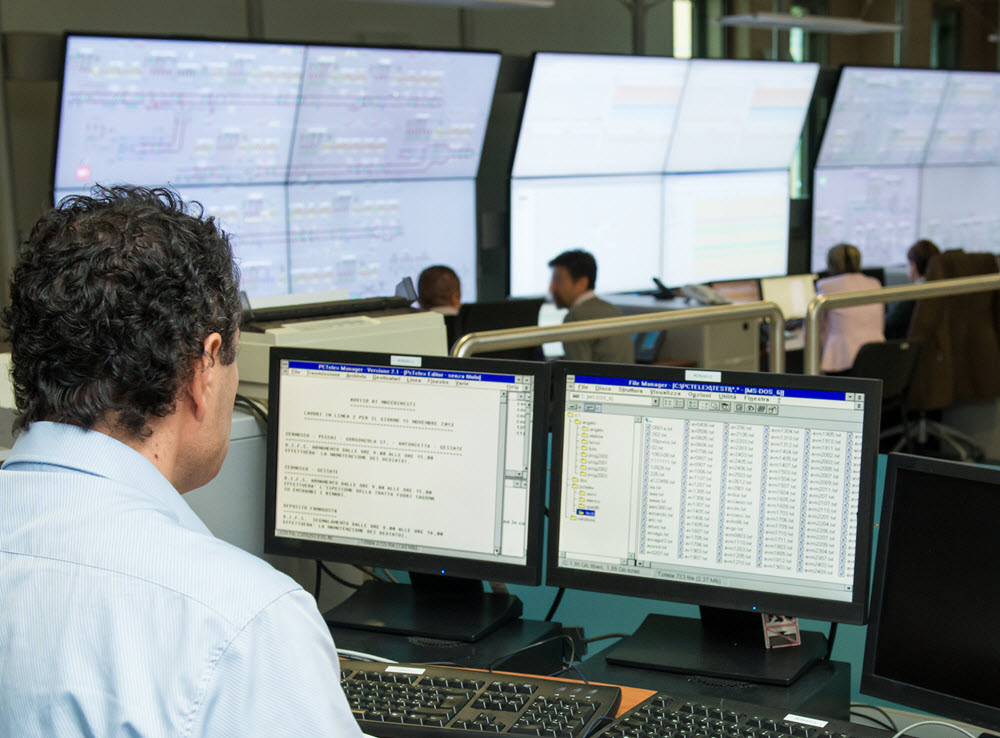 Wallboards in busy operations center
